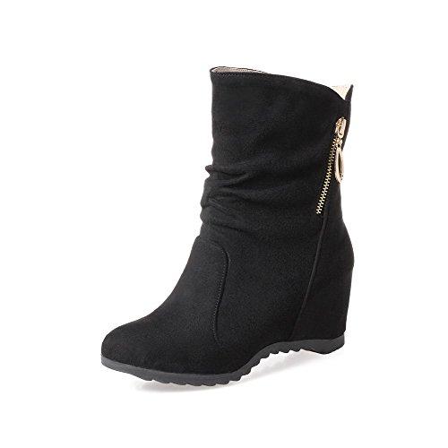 Toe Round AgooLar Pull Black Lining Velvet Boots Heels Women's Kitten On Eq55AC
