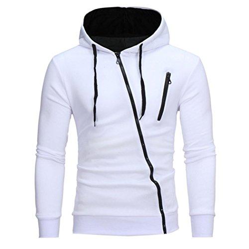 Boyiya Hooded, Mens' Long Sleeve Hoodie Hooded Sweatshirt Tops Jacket Coat Outwear With Pockets (M, White) (Sweatshirt Bleach)