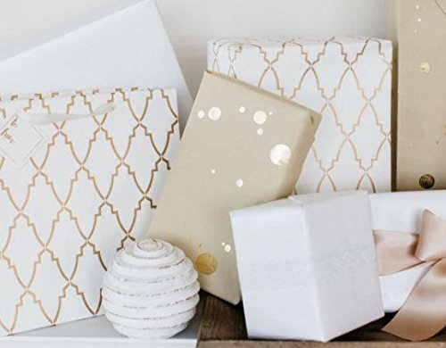 BEST LUXURY GIFT WRAP ROLLS: GOLD FOIL DOT (TWO ROLLS) - Luxury Wrapping Paper