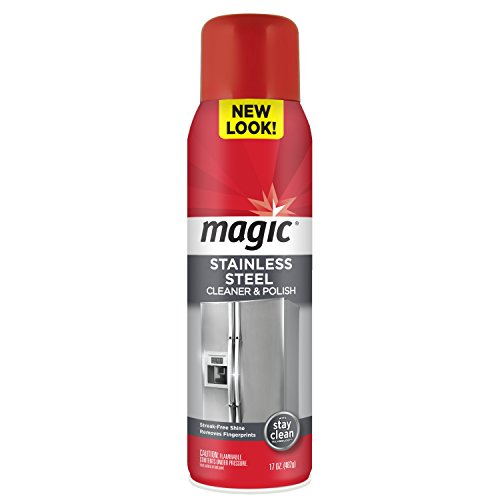 Magic Stainless Steel Cleaner Aerosol -  17 Ounce - Removes Fingerprints Residue Water Marks and Grease From Appliances - Refrigerator Dishwasher Oven Grill etc