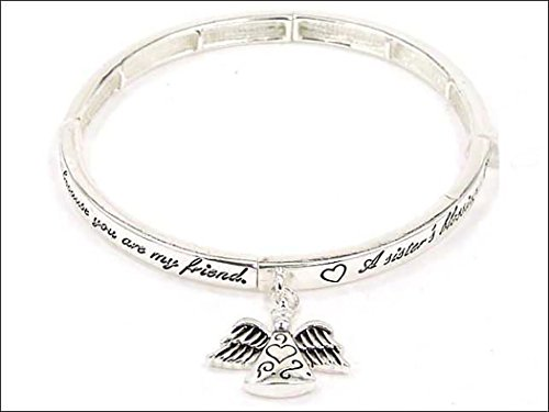 Jewelry Nexus Silver-tone Angel Sisters Blessing Angel Charm Bracelet with Bookmark ()