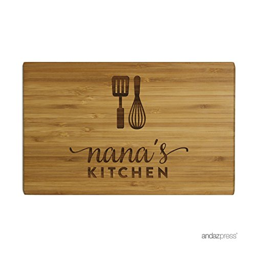 Andaz Press Laser Engraved Small Bamboo Wood Cutting Board, 9.5 x 6-inch, Nana's Kitchen, 1-Pack, Christmas Birthday Mother's Day Gift Present Ideas for Grandma Grandmother Nana