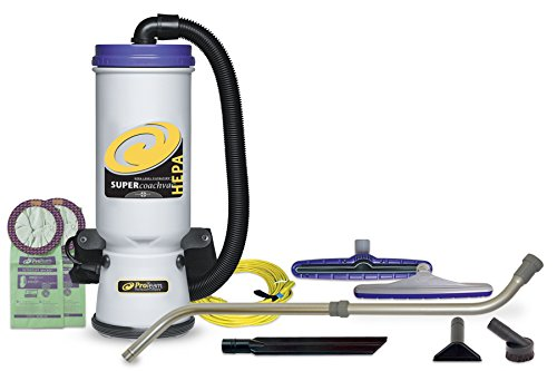 ProTeam Backpack Vacuums, Super CoachVac Commercial Backpack Vacuum Cleaner with HEPA Media Filtration and Telescoping Wand Tool Kit, 10 Quart, Corded - Backpack Vacuum Commercial Hepa