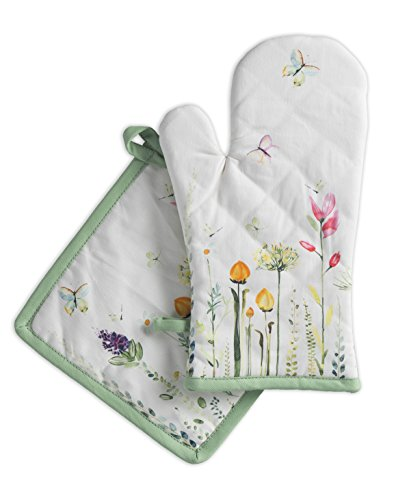 (Maison d' Hermine Botanical Fresh 100% Cotton Set of Oven Mitt (7.5 Inch by 13 Inch) and Pot Holder (8 Inch by 8 Inch) )