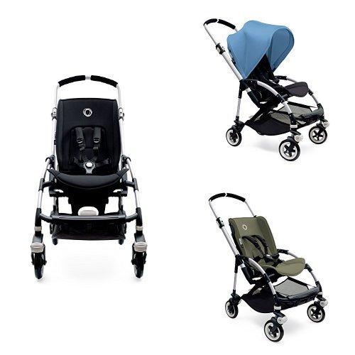 Bugaboo Bee3 Stroller - Ice Blue - Dark Khaki - Aluminum