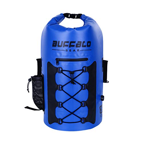 Buffalo Gear Portable Insulated Backpack Cooler Bag - Hands-free and Collapsible, Waterproof and Soft-Sided Cooler Backpack for Hiking, the Beach, Picnics,Camping, Fishing - Navy Blue,35 Liters,30 Can