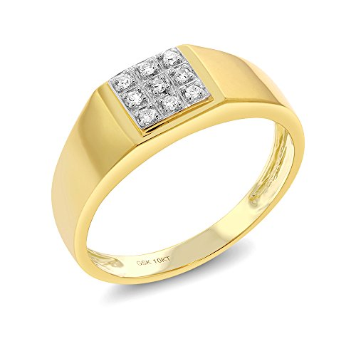 Gem Stone King Men's Solid 10k Yellow Gold Natural White Diamond Wedding Anniversary Ring (Size 10) (Solitaire Mens Band Diamond)