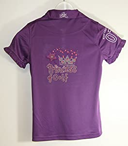 Kissi Couture Big Girls Golf Polo Shirt with Princess Of Golf Bling XL Purple