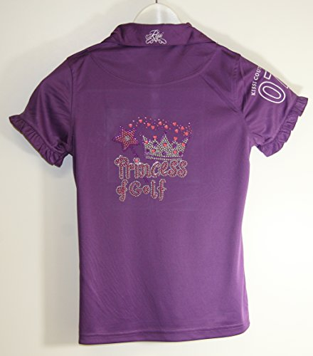Kissi Couture Little Girls Golf Polo Shirt with Princess Of Golf Bling XS Purple by Kissi Couture (Image #1)