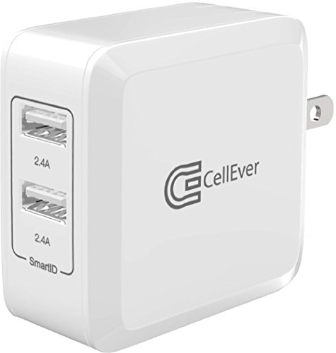 CellEver 4.8A 24W PowerBoost High Speed Dual USB Wall Charger with SmartID (2 Ports and Foldable Plug) Travel Charger for Apple iPhone 5, 5S, SE, 6, 6s, 7, 8, X, XS, XR X Max iPad Pro and more - White (Difference Between Iphone 4s And 5s And 6)