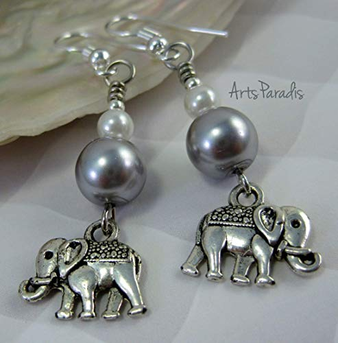 Glass Charm Elephant (Trunk Up Indian Elephant Charm with Grey and White Glass Pearl Earrings by ArtsParadis)