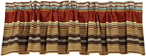 HiEnd Accents Calhoun Western Window Curtain Valance, 84 x 18 , Red