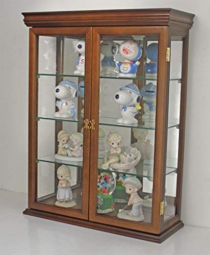 DisplayGifts Solid Wood Tuscan Style Wall Curio Cabinet, Stand or Wall Mount, 19.75