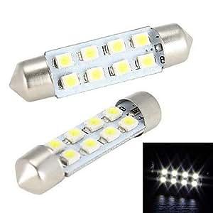 DK Merdia 4W 150LM Festoon 41MM 8x1210SMD LED White Light for Car Steering Light Bulb / Reading Lamp - (2 PCS / 12V)