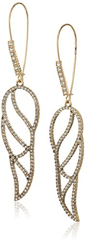 Betsey Johnson Angels & Wings Crystal Cut-Out Feather Long Drop ()