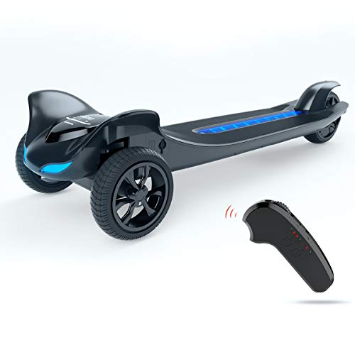 - TOMOLOO Electric Skateboard Three Wheels Electronic Skate Scooter Easy Carry Longboard 250W Hub Motor with APP and Wireless Remote Control - 15.5MPH & up to 12mile Range(Black)