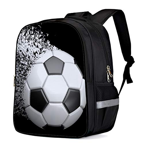 Water Resistant School Backpack, Football Artistic Pattern Oxford 3D Print College Student Rucksack Daypack for School Camping Travel 33x28x16cm]()