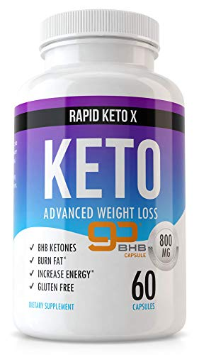 Rapid Keto X Keto Pills for Weight Loss and Fat Burn - Advanced Ketogenic Diet Supplement - Boost Ketosis - Women & Men Metabolism Boost Burner - Suppress Appetite - Boost Energy & Focus - 60 Caps