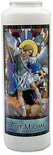 (6-Day Archangel Saint Michael Stained Glass Gleamlights Candle)