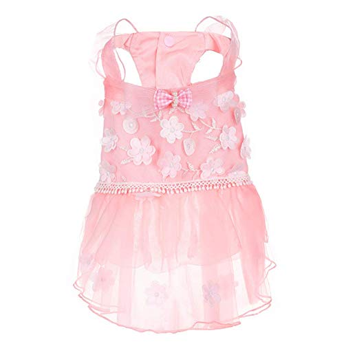 Hdwk&Hped Small Dog Dress Puppy Cat Skirt Pet Summer Clothes for Birthday Party Princess Style Pink #2 ()