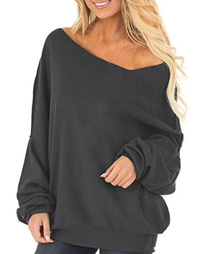 Auxo Womens Off The Shoulder Tops Baggy Shirt Long Sleeve Blouse Oversized Sweater Jumper Pullover Dark Grey US 14/Asian XL ()