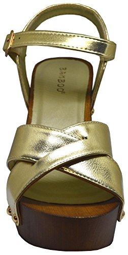 Bambu Lain-24m Kvinnor Korsmönstrad Blocket Hälen Plattform Sandal Guld Storlek 10 Guld