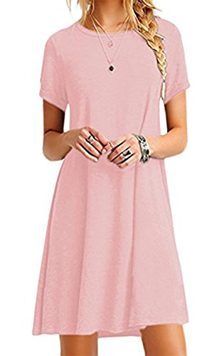 - YMING Women Plus Size Shirt Dress Loose Tee Shirt Mini Dress Solid Color Short Dress Pink M