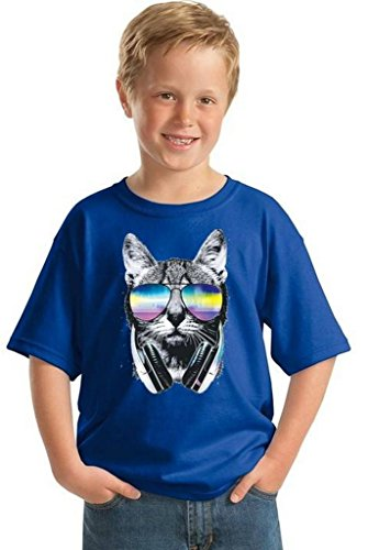 Youth Cat Music Sunglasses T-Shirt Gift For Kids Pet Face Animal Lover Shirt L - Sunglasses In Cats