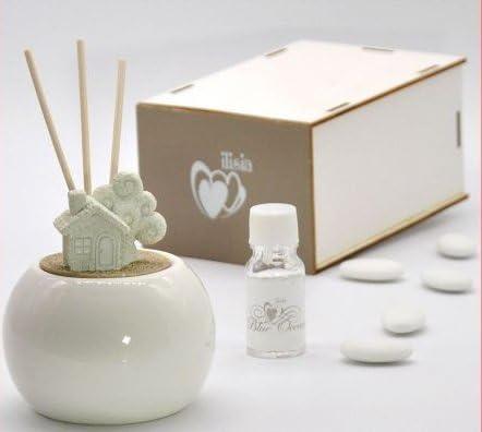 Ambientador para habitaciones de cerámica blanca brillante de forma esférica completa de tizas con forma de