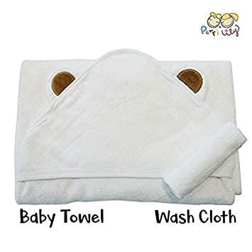 100% Organic Bamboo Hooded Baby Towel Set - Soft, Hooded Bath Towels with Ears