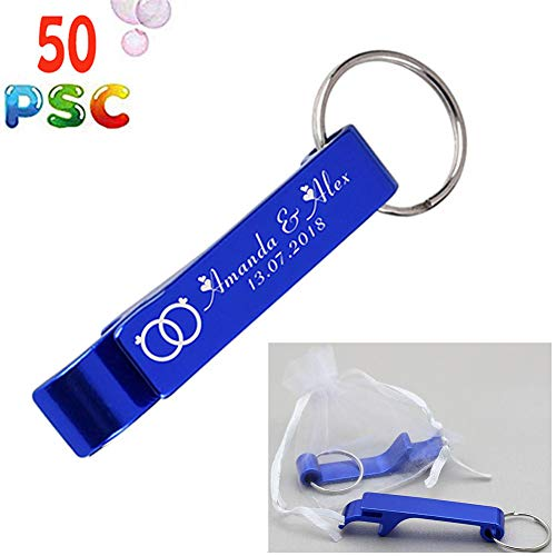 50pcs Personalized Engraved Bottle Openers Keychains Wedding Favors Party Promotional Giveaway Gift+ White Organza bags (Blue)