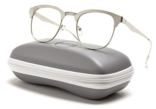 WearMe Pro - Metal Frame Modern Clear Lens Glasses (Silver, - Fake Trendy Glasses
