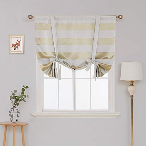 Deconovo Room Darkening Curtain Pattern Striped Curtains Rod Pocket Light Blocking Curtain Short Curtain for Small Window 46W X 63L Champagne and Greyish White 1 Panel - Gold Stripe Extra Long Ties