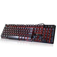 Rii RK100 Teclado Gaming, Teclado Gamer.QWERTY Español.Retroiluminación RGB, Controles Multimedia