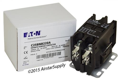 - GE CR453CA2AAA - Replaced by Eaton / Cutler Hammer C25BNB220A Contactor , 2-Pole , 20 Amp , 120 VAC Coil Voltage