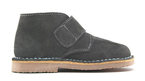 POM Shoes Madrid Mini Gray & Blue Velcro Boots with Leather Lining and Blue Accents 27 EU (8 M US Toddler) by POM Shoes (Image #3)
