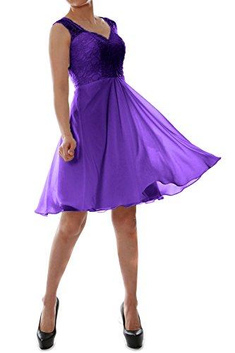 MACloth Women V Neck Lace Chiffon Short Formal Evening Cocktail Party Dress Violett g0iev