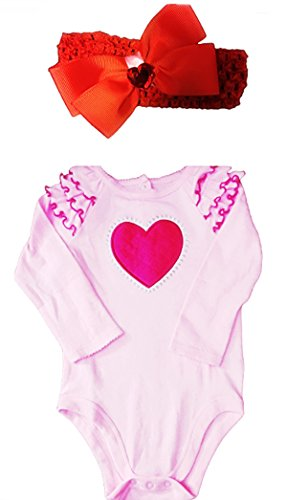 Valentine's Day Pink Ruffled Shoulder Long Sleeve Body Suit Plus Red Head Wrap (24 Months)