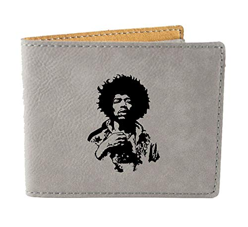 Jimi Hendrix Mens Wallet - Laser Engraved Vegan Leather - Personalized Custom Gifts (Jimi Hendrix Leather)