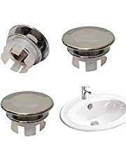 4 Pack Solid Sink Overflow Cap, Round Hole Cover Overflow Cover Replacement Insert in Hole Caps (22mm-24mm) for Bathroom