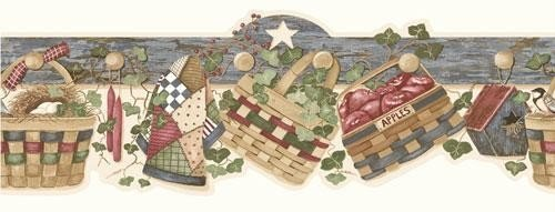 - Wallpaper Border Country Baskets Eggs Wreaths Quilt Candles Apples Birdhouse Ivy