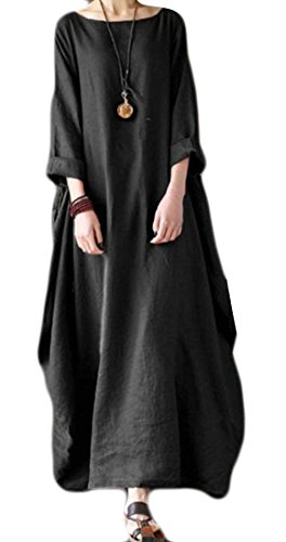 Fit Maxi Half Loose Dress Crewneck Women's M Black Cromoncent Swing Sleeve 1wqRcExWB