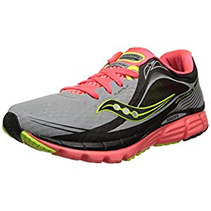 Saucony Women's Kinvara 5 Viziglo Running Shoe,Silver/Vizi Coral/Citron,8 M US