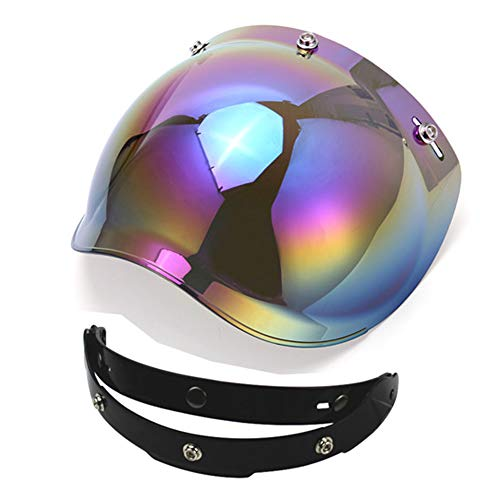 1STorm Universal 3 Snap Button Flip Up Visor Tinted Bubble Shield Lens for Retro Vintage Open Face Motorcycle Helmet (Tinted Bubble)