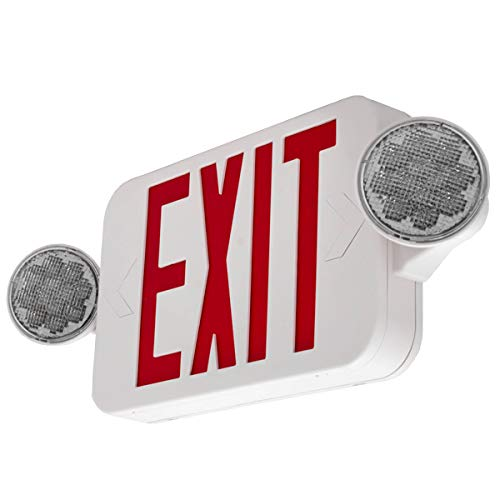 LFI Lights - UL Certified - Hardwired Red Compact Combo Exit Sign Emergency Egress Light - High Output - COMBORJR2