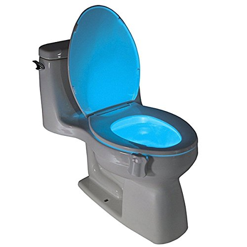 BonBon Motion Activated Toilet Nightlight- Battery Operated LED Lamp - 16 Colors Cycling-Energy Saving Splash Proof - Fits All - Mall Stores Carousel