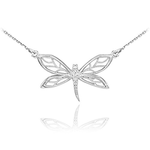 14k White Gold 1-Stone Diamond Filigree Dragonfly Pendant Necklace, 18
