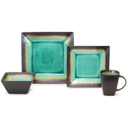 Better Homes and Gardens Jade Crackle 16-Piece Dinnerware Set, MSJ16