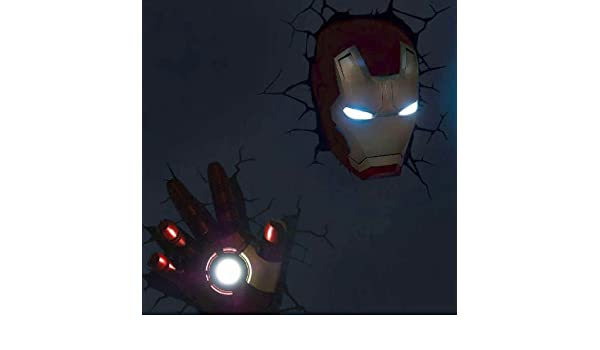 jessecos Marvel Avengers Iron Man Mask Casco Casco + mano 3d Deco lámpara de pared Lámpara de noche: Amazon.es: Iluminación