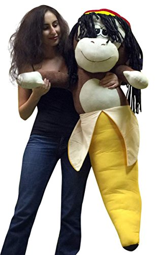 Giant Stuffed 4 Foot Rasta Monkey Banana 48 Inch Soft Huge
